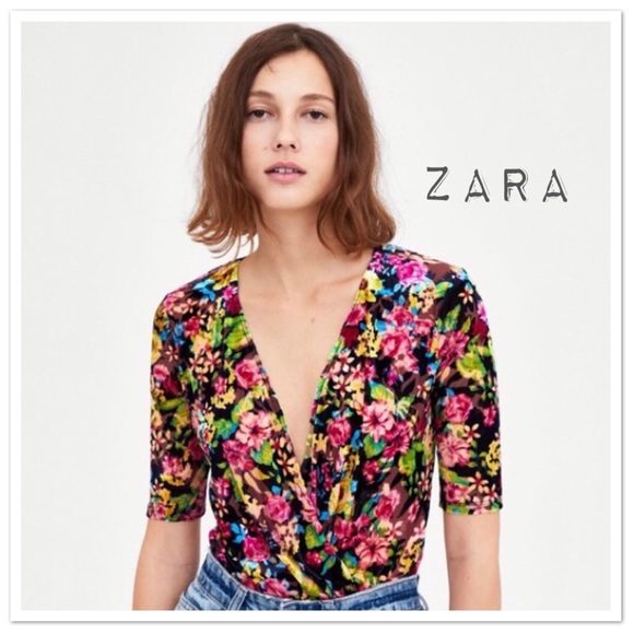 Zara Tops - Zara Trafaluc Velvet Crossover Bodysuit - NWT
